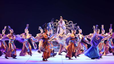 """ST.PETERSBURG, Dec. 4, 2019 (Xinhua) -- Dancers perform the dance drama """"Confucius"""" at Mariinsky Theatre in St. Petersburg, Russia, Dec. 3, 2019. The dance drama """"Confucius"""", performed by the China National Opera and Dance Drama Theatre, was staged on Tuesday at Mariinsky Theatre. (Photo by Vera Zaraeva/Xinhua/UNI PHOTO-17F"""