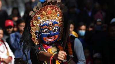 KATHMANDU, Dec. 1, 2019 (Xinhua) -- A masked dancer performs during the Tistung Bajrabarahi festival at the Hanumandhoka Durbar Square in Kathmandu, Nepal, Nov. 30, 2019. Xinhua/UNI PHOTO-9F