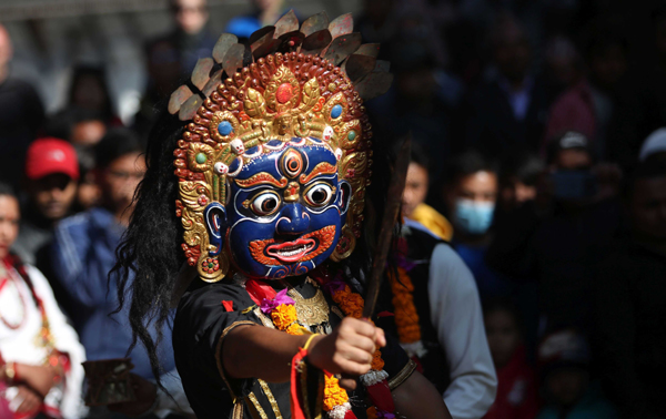 KATHMANDU, Dec. 1, 2019 (Xinhua) -- A masked dancer performs during the Tistung Bajrabarahi festival at the Hanumandhoka Durbar Square in Kathmandu, Nepal, Nov. 30, 2019. Xinhua/UNI PHOTO-9F
