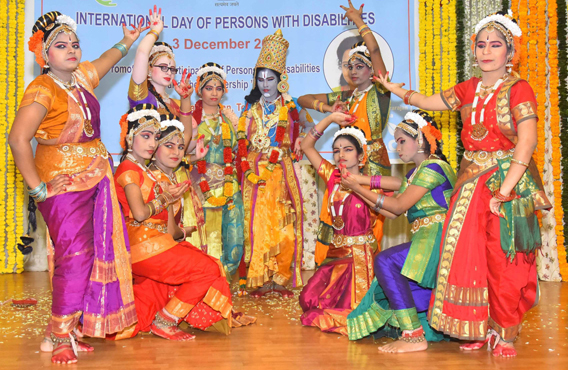 HYDERABAD, DEC 3 (UNI):- Students of visually impaired dancing to tunes of Annamayya Keerthana during International Day of Persons with Disabilities at Raj Bhavan in Hyderabad on Tuesday. UNI PHOTO-RSN17U