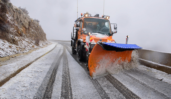 (191225) -- GOLAN HEIGHTS, Dec. 25, 2019 (Xinhua) -- A snowplow works on the road in Mount Hermon in the Israeli-annexed Golan Heights as the first snowfall of the winter hits Golan Heights on Dec. 25, 2019. (Ayal Margolin/JINI via Xinhua)