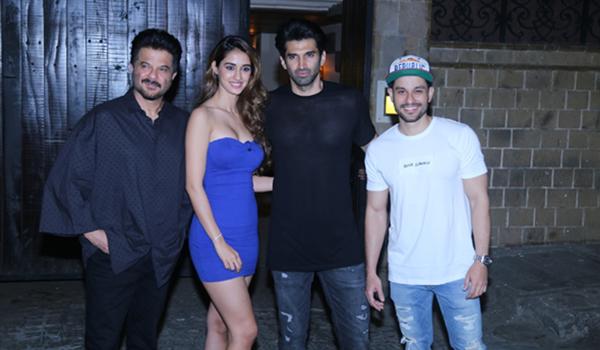 """Mumbai: Actors Anil Kapoor with the co-stars of his upcoming film """"Malang"""" - Disha Patani, Aditya Roy Kapoor and Kunal Khemu at his residence in Mumbai on Dec 19, 2019. (Photo: IANS)"""