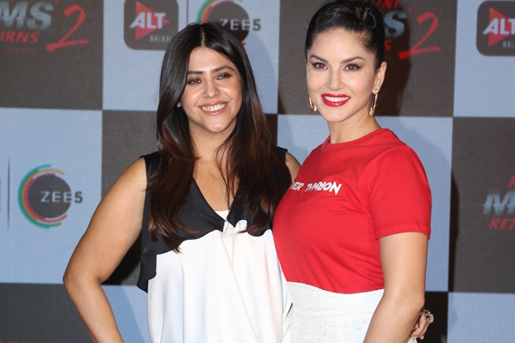 "Mumbai: Actress Sunny Leone and filmmaker Ekta Kapoor at the trailer launch of film ""Ragini MMS: Returns"", in Mumbai on Dec 12, 2019. (Photo: IANS)"