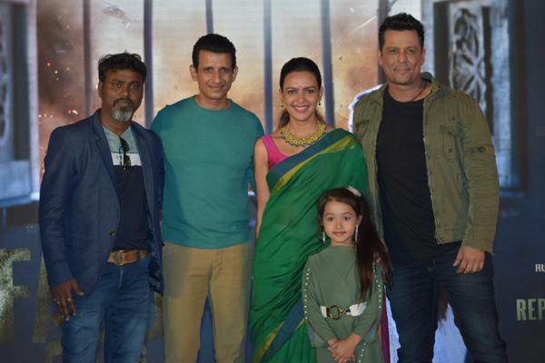 "Mumbai: Director Aaryaan Saxena with actors Sharman Joshi, Bidita Bag, Vikram Singh and child artiste Mahi Soni at the first look launch of their upcoming film ""Fauji Calling"", in Mumbai on Dec 20, 2019. (Photo: IANS)"