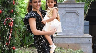 Mumbai: Actress Soha Ali Khan arrives with her daughter Inaaya Naumi Kemmu for the birthday celebrations of her nephew Taimur Ali Khan in Mumbai on Dec 19, 2019. (Photo: IANS)
