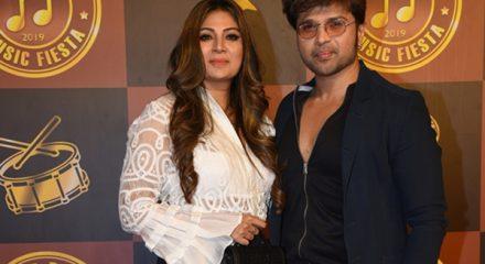 Mumbai: Actor Himesh Reshammiya with wife Sonia Kapoor at the birthday party of producer Anand Pandit in Mumbai on Dec 21, 2019. (Photo: IANS)