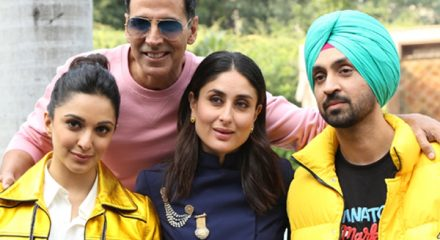 "New Delhi: Actors Akshay Kumar, Kareena Kapoor, Diljit Dosanjh and Kiara Advani during the Group Photoshoot of the starcast of upcoming film ""Good Newwz"" in New Delhi on Dec 18, 2019. (Photo: Amlan Paliwal/IANS)"