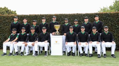 (191211) -- MELBOURNE, Dec. 11, 2019 (Xinhua) -- Players of International team pose for group photo ahead of the 2019 Presidents Cup at Royal Melbourne Golf Club in Melbourne, Australia, Dec. 11, 2019. (Xinhua/Bai Xuefei)