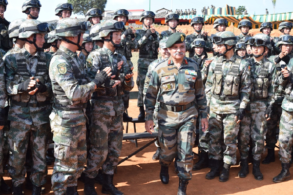 "Shillong: Soldiers of the Indian and the Chinese Army during the closing ceremony of the eighth edition of India-China Joint Training Exercise ""Hand-in- Hand"" 2019, at Joint Training Node, Umroi Miitary Station in Meghalaya's capital Shillong on Dec 20, 2019. (Photo: IANS/DPRO)"