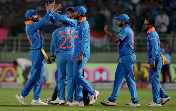 Visakhapatnam: Indian cricketers celebrate fall of Shimron Hetmyer's wicket during the 2nd ODI match between India and West Indies at Dr. Y.S. Rajasekhara Reddy ACA-VDCA Cricket Stadium in Visakhapatnam on Dec 18, 2019. (Photo: Surjeet Yadav/IANS)