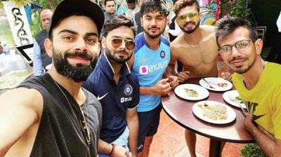 """India skipper Virat Kohli put some pictures on social media where he is seeing enjoying the """"day off"""" with his teammates."""
