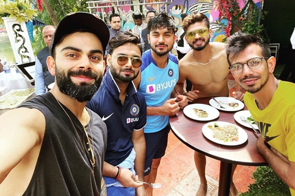 "India skipper Virat Kohli put some pictures on social media where he is seeing enjoying the ""day off"" with his teammates."
