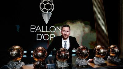 PARIS, DEC. 3, 2019 (Xinhua) -- The Men's 2019 Ballon d'Or winner Barcelona forward Lionel Messi poses with his six Ballon d'Or trophies he won in his career so far during the ceremony at the Theatre du Chatelet in Paris, France, Dec. 2, 2019. Xinhua/UNI PHOTO-5F