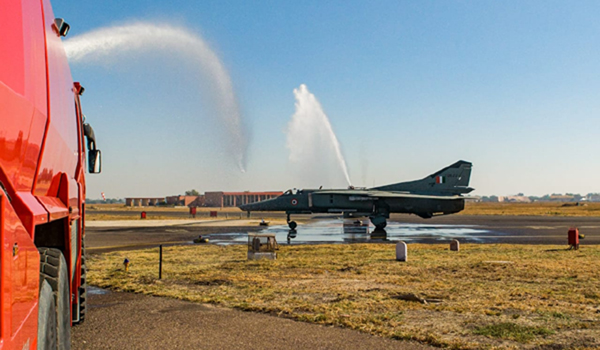 Jodhpur: An MiG-27 fighter aircraft at the Jodhpur airbase on Dec 27, 2019. The Indian Air Force (IAF) decommissioned Mikoyan-Gurevich 27 (MiG-27), the fighter aircraft that played a stellar role during the Kargil war with Pakistan 20 years ago, on Friday. (Photo: IANS)