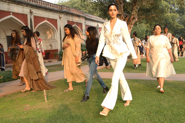 "New Delhi: Models walk the ramp during a fashion show organised by Fashion Design Council of India (FDCI) at the launch of ""InHerit 2019"" at Sunder Nursery Heritage Park in New Delhi on Dec 7, 2019. (Photo: Amlan Paliwal/IANS)"