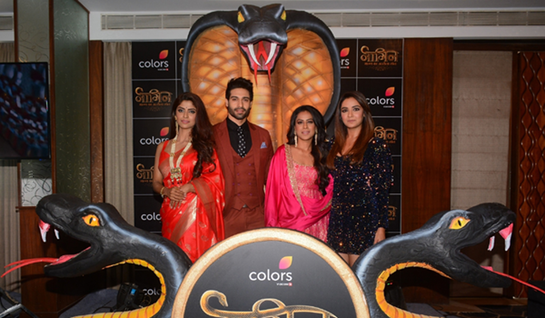 "Mumbai: Actors Sayantani Ghosh, Nia Sharma, Vijayendra Kumeria and Jasmin Bhasin at the launch of upcoming television serial ""Naagin Bhagya Ka Zehreela Khel"" in Mumbai, on Dec 9, 2019. (Photo: IANS)"