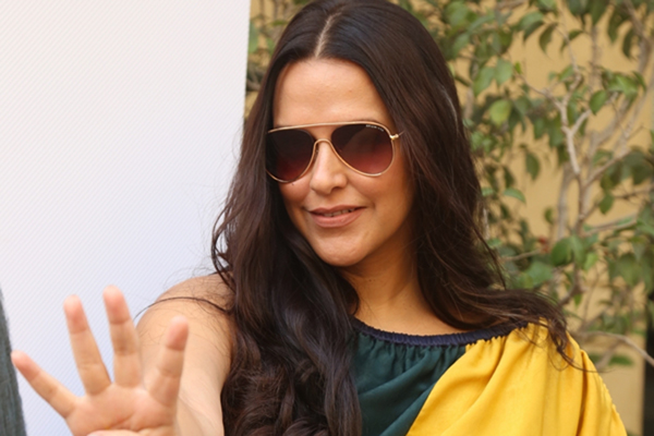 "Mumbai: Actress Neha Dhupia on the sets of her chat show ""#NoFilterNeha"" Season 4 in Mumbai on Dec 10, 2019. (Photo: IANS)"