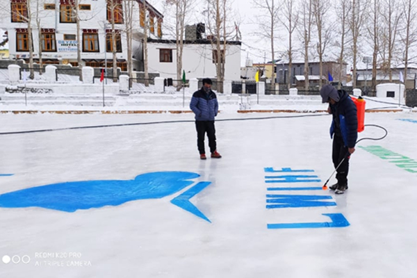 Spiti: The highest ice skating rink in Himachal Pradesh at an altitude of 3,720 m has been set up in remote Kaza town in the Spiti area. State Agriculture Minister Ram Lal Markanda will be inaugurating the rink spreads over 50 metre by 35 metre on December 20. The aim of setting up the rink is to promote ice skating and hockey among the youth. (Photo: IANS)