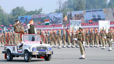 NEW DELHI, DEC 1 (UNI):- Minister of State for Home Affairs Nityanand Rai inspecting the parade at the 55th Raising Day Parade of Border Security Force (BSF), in New Delhi on Sunday UNI PHOTO-31U