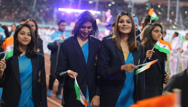 KATHMANDU, Dec. 2, 2019 (Xinhua) -- Players of delegation of India march during the inauguration of 13th South Asian Games in Kathmandu, Nepal, Dec. 1, 2019. Xinhua/UNI PHOTO-2F