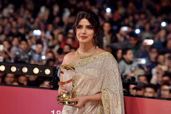 (191206) -- MARRAKECH, Dec. 6, 2019 (Xinhua) -- Actress Priyanka Chopra attends the 18th Marrakech International Film Festival in Marrakech, Morocco, Dec. 5, 2019. (Xinhua)