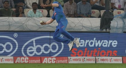 Hyderabad: India's Rohit Sharma's attempt for the catch during the first T20I match between India and West Indies at the Rajiv Gandhi International Stadium in Hyderabad on Dec 6, 2019. (Photo: Surjeet Yadav/IANS)