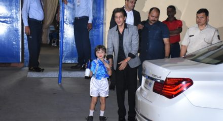 Mumbai: Actor Shah Rukh Khan with his son AbRam Khan at Dhirubhai Ambani School's annual day celebrations in Mumbai on Dec 20, 2019. (Photo: IANS)