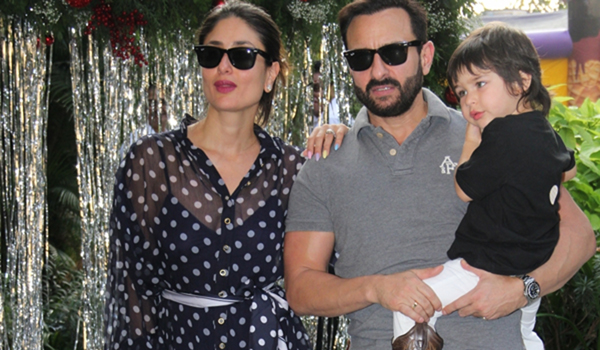 Mumbai: Actors Kareena Kapoor and Saif Ali Khan during the preparation of their son Taimur Ali Khan's birthday party in Mumbai on Dec 19, 2019. (Photo: IANS)