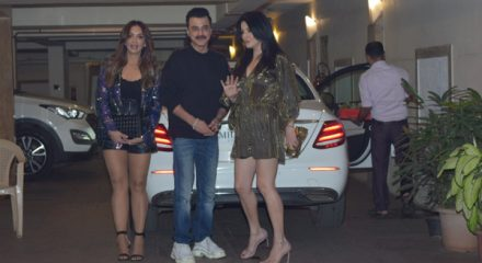 Mumbai: Actor Sanjay Kapoor with wife Maheep Kapoor and fashion designer Seema Khan at actress Kareena Kapoor's Christmas party in Mumbai on Dec 24, 2019. (Photo: IANS)