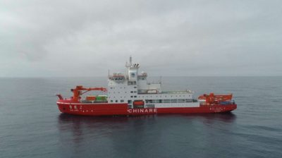 (191225) -- ABOARD XUELONG 2, Dec. 25, 2019 (Xinhua) -- Aerial photo taken on Dec. 24, 2019 shows China's polar icebreaker Xuelong 2 in the Cosmonauts Sea. China's polar icebreakers Xuelong and Xuelong 2 will conduct scientific researches in the Southern Ocean. (Xinhua/Liu Shiping)
