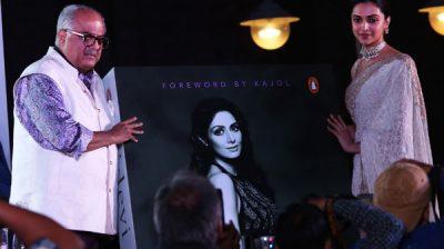 "New Delhi: Actress Deepika Padukone and producer Boney Kapoor during the launch of a book on late actress Sridevi, ""Sridevi: The Eternal Screen Goddess"", written by author-screenwriter Satyarth Nayak, in New Delhi on Dec 1, 2019. (Photo: Amlan Paliwal/IANS)"
