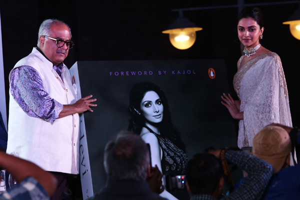 "New Delhi: Actress Deepika Padukone and producer Boney Kapoor during the launch of a book on late actress Sridevi, ""Sridevi: The Eternal Screen Goddess"", written by author-screenwriter Satyarth Nayak, in New Delhi on Dec 1, 2019. (Photo: Amlan Paliwal/IANS)"