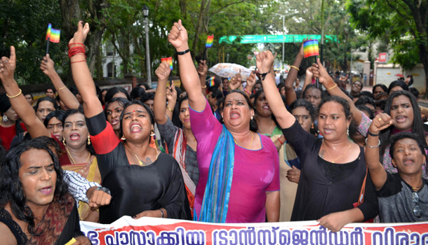 THIRUVANANTHAPURAM, DEC 3 (UNI)- Members of transgenders staging a march in front of Kerala Rajbhavan to protest against the Transgender (Protection of Rights) Bill, 2019, in Thiruvananthapuram on Tuseday. UNI PHOTO-29U