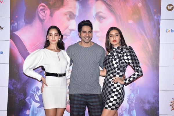 "Mumbai: Actors Varun Dhawan, Shraddha Kapoor, Nora Fatehi at the trailer launch of their upcoming film ""Street Dancer 3D"" in Mumbai on Dec 18, 2019. (Photo: IANS)"