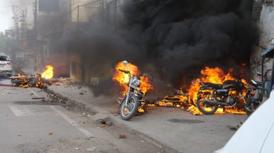 Lucknow: Angry protesters went on rampage and set ablaze vehicles during their protest against the Citizenship Amendment Act (CAA) 2019, in Lucknow on Dec 19, 2019. Violence erupted during protests against CAA on Thursday afternoon in various cities of Uttar Pradesh, including the state capital. Roadways buses were set on fire by protesters in Sambhal district and some private vehicles were also set ablaze. Internet services have been suspended in the western UP district. (Photo: IANS)