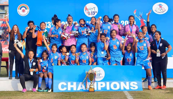 Pokhara: Indian Women's football team with the winners trophy after triumphing 2-0 over Nepal at South Asian Games in Pokhara, Nepal on Dec 9, 2019. (Photo: IANS)
