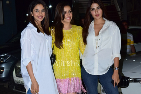 "Shraddha Kapoor and Rakul Preet Singh at the screening of the film ""Street Dancer 3D"""