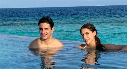 Actress Sara Ali Khan is enjoying her vacation with her brother Ibrahim Ali Khan, and the postcard-worthy moments have gone viral on the Internet. Sara and Ibrahim are on a vacation in Maldives, and they welcomed 2020 with a splash.