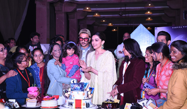 Lucknow: Actress Deepika Padukone with her husband and actor Ranveer Singh and acid attack survivors celebrates her birthday during a programme in Lucknow on Jan 5, 2020. (Photo: IANS)