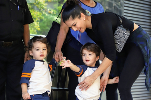 Sunny Leone seen with her sons Asher Singh Weber and Noah Singh Weber at Juhu