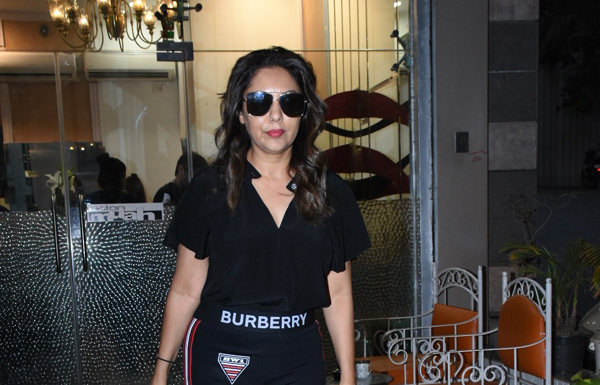 Actor Shah Rukh Khan's interior designer wife Gauri Khan seen at a Bandra Salon