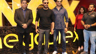 "Mumbai: Actors Ajay Devgn and Sharad Kelkar during a special screening of their film ""Tanhaji: The Unsung Warrior"" organised for children, in Mumbai on Jan 10, 2020. (Photo: IANS)"