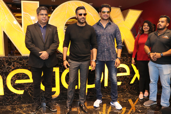 "Mumbai: Actors Ajay Devgn and Sharad Kelkar during a special screening of their film ""Tanhaji: The Unsung Warrior"" organised for children, in Mumbai on Jan 10, 2020. (Photo: IANS)"