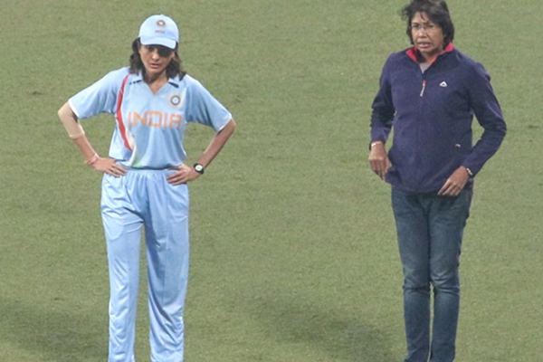 Kolkata: Actress Anushka Sharma with Indian women's team cricketer Jhulan Goswami during the shooting of a teaser for her upcoming biopic on the former captain of the Indian women's cricket team, at the Eden Garden's in Kolkata on Jan 11, 2020. (Photo: IANS)