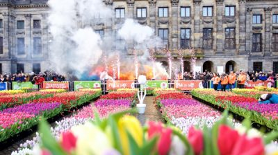 AMSTERDAM, Jan. 19, 2020 (Xinhua) -- Neatly arranged tulips are seen on the Netherlands' National Tulip Day in Amsterdam, the Netherlands, Jan. 18, 2020. Visitors pick their own tulips for free from about 200,000 tulips displayed at Dam Square in Amsterdam on Saturday. This annual event marks the start of the tulip season in the Netherlands. (Photo by Sylvia Lederer/Xinhua/IANS)