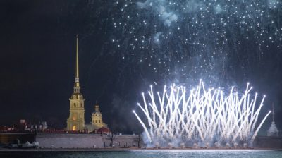 ST. PETERSBURG, Jan. 8, 2020 (Xinhua) -- Fireworks explode to celebrate the Orthodox Christmas in St. Petersburg, Russia, Jan. 7, 2020. (Photo by Irina Motina/Xinhua/IANS)