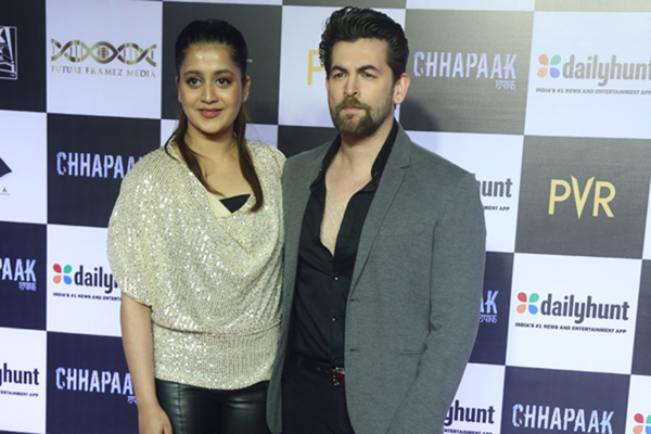 "Mumbai: Actor Neil Nitin Mukesh and his wife Rukmini Sahay at the screening of the film ""Chhapaak"" in Mumbai on Jan 8, 2020. (Photo: IANS)"