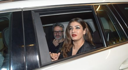 Mumbai: Actress Raveena Tandon and her husband Anil Thandani arrive at filmmaker Ritesh Sidhwani's birthday bash, in Mumbai on Dec 31, 2019. (Photo: IANS)