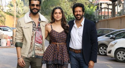 "Mumbai: Director Kabir Khan with actors Sunny Kaushal and Sharvari Wagh during the promotions of their upcoming film ""The Forgotten Army"" in Mumbai on Jan 8, 2020. (Photo: IANS)"