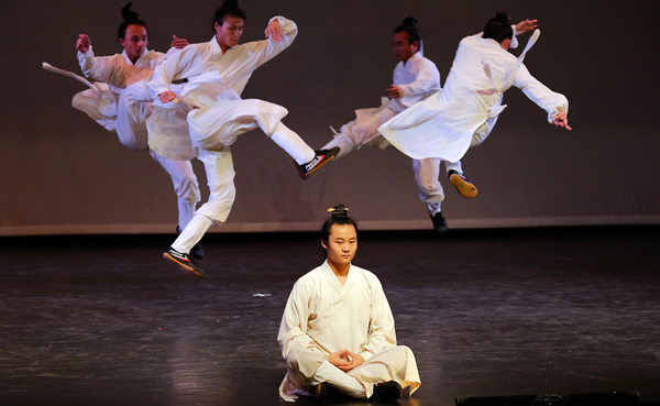 (200118) -- TEL AVIV, Jan. 18, 2020 (Xinhua) -- Members of the Chinese Wudang Kung Fu Troupe perform in the Israeli city of Tel Aviv on Jan. 17, 2020. The performance is part of the celebrations of the Chinese New Year 2020 in Israel. (Photo by Gil Cohen Magen/Xinhua)